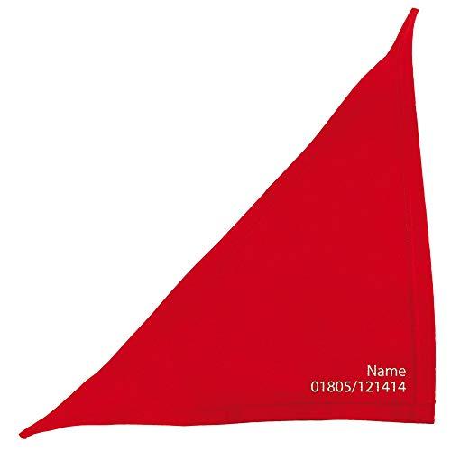 Schecker Rot 35cm Besticktes Hundehalstuch - Bandana Bestickt mit dem Hundenamen und Tel. Nr. - hochwertig - waschbar - individuell