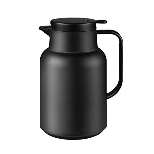 El hervidor aislado de 1500 ml con forro de cristal, el diseño de un solo botón es más conveniente, con anillo de silicona a prueba de fugas de grado alimenticio, adecuado para uso doméstico, negro