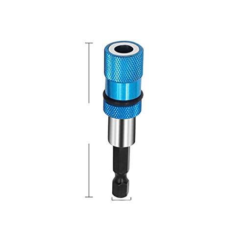 1/4 vástago hexagonal taladro eléctrico destornillador magnético soporte de broca 60 mm barra ajustable de límite de magnetismo de acero inoxidable 60 mm-1 piezas azul