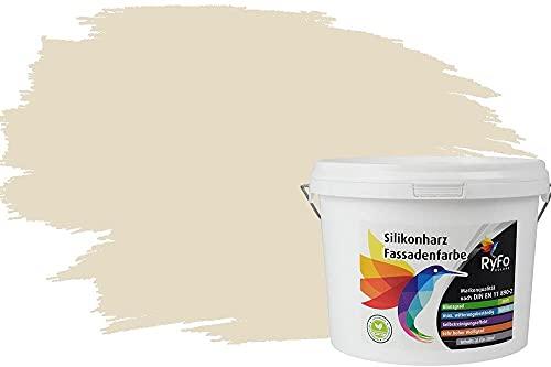 RyFo Colors Silikonharz Fassadenfarbe Lotuseffekt Trend Vanillegelb 3l - bunte Fassadenfarbe, weitere Gelb Farbtöne und Größen erhältlich, Deckkraft Klasse 1