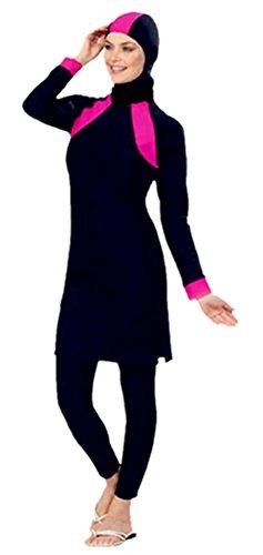TianMai Neue Muslimische Bademode Muslim Islamischen Bescheidene Full Cover Badebekleidung Modest Swimwear Beachwear Burkini für Frauen (Rosa, Int'l 2XL (EU-Größe 42-44))