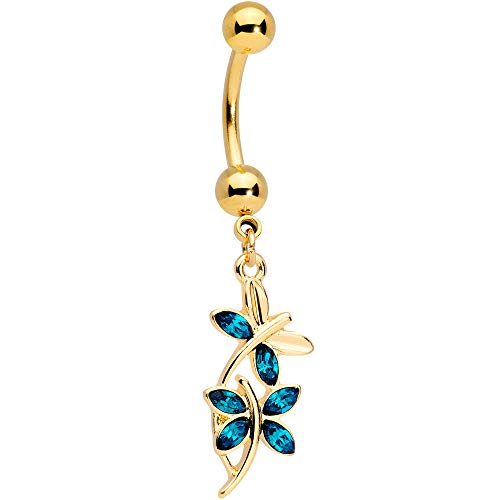 Body Candy Womens 14G PVD Steel Navel Ring Piercing Blue Accent Dragonfly Dangle Belly Button Ring
