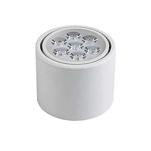 Crcrbg Luz cálida Luz empotrada LED montada en Superficie Luz de Techo Redonda No Abierta Hogar y Comercial Ángulo Ajustable Sala de Estar Foco de Techo montado en Superficie