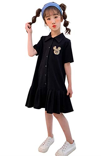 キッズ ポロワンピース スウェット 女の子 半袖 ポロシャツ 襟付き フレア カジュアル 体型カバー 普段着 体操 運動 訓練 スポーツ ダンス ブラック 120