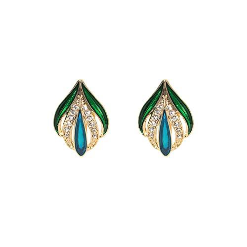 S925 Pendientes de sentido de alta moda con personalidad de aguja de plata Clip de oreja retro en forma de brote de hoja Color esmaltado pequeños pendientes de diamante