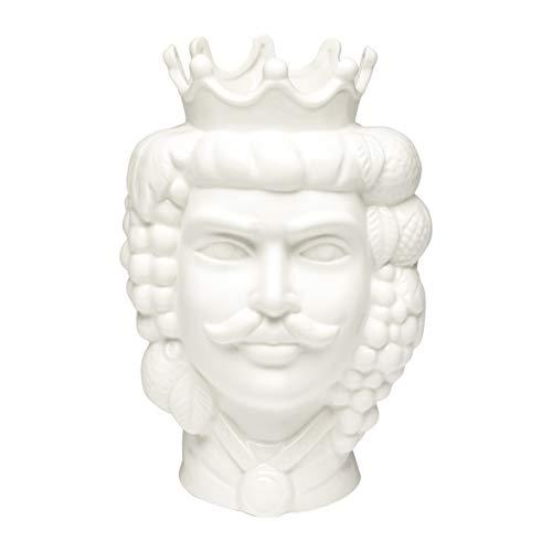 Baroni Home Testa di Moro in Porcellana Stile Siciliano con Corona. Vaso per Piante da Interno Re Bianco 14X14X22cm