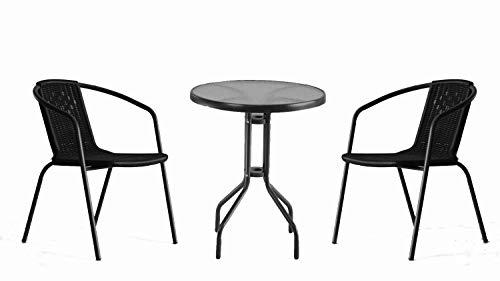 Möbel Akut Bistroset 3-teilig Gartenset Glastisch mit Zwei Kunstrattan Stühlen Balkonset Outdoor