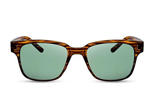 Cheapass Sonnenbrille Holz-Optik Braun Grüne-e Linsen UV-400 Retro Natur-Muster Plastik Damen Herren