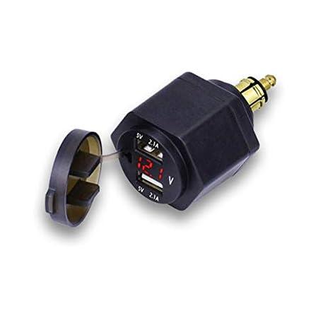 Bweele Bordsteckdose Stecker Dual Usb Ladegerät Adapter Mit Led Voltmeter Für Bmw Motorrad Handy Iphone Gps Satnav Baumarkt