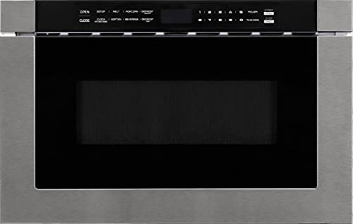 """FORTÉ F2412MVD8SS 24"""" Microwave Drawer with 1.2 cu. ft. Capacity, 10 Power Levels, Kitchen Timer, Defrosting Rack, Touch Open/Close, 1000 Watt Microwave Power, in Stainless Steel"""