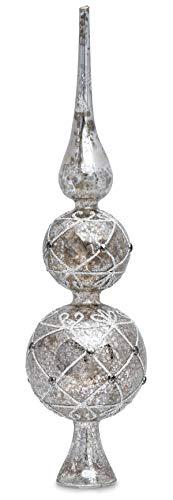 SIKORA SP4Se große ausgefallene Christbaumspitze aus irisierendem Klar Glas mit Antik SILBER Dekor H 30cm