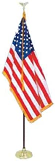 All Star Flags 8' Executive Formal Indoor American Flag Set with 8' Pole, Stand and Eagle Ornament for Offices, Schools, Churches & Auditoriums