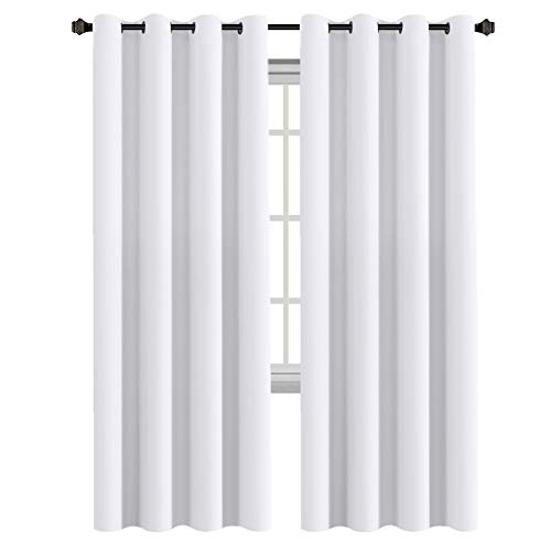 White Curtains 96 inches Long Window Treatment Panels / Drapes for Living Room, Set of 2, Grommet Top