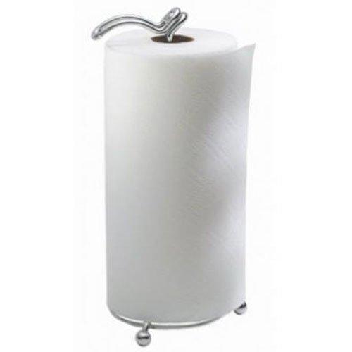 iDesign Classico keukenpapierrolhouder | keukenrolhouder zonder boren voor aanrecht of eettafel | huishoudrolhouder met scharnier | metaal zilver