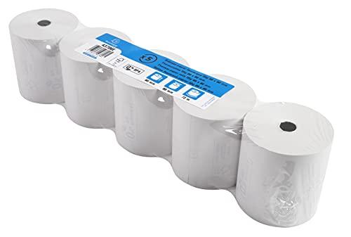 Exacompta - Réf. 43706E - Lot de 5 bobines pour tickets de caisse 80x80 mm - 1 pli thermique 55g/m2 sans BPA. - Métrage (+ ou - 2m) : 72 m