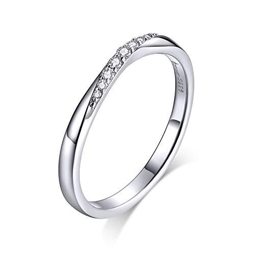 Eternity - Anillo de plata de ley con circonita cúbica apilable, anillo de compromiso para niñas adolescentes