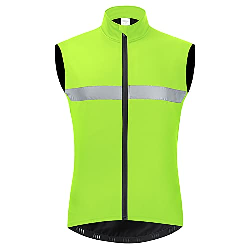 TDHLW Chaleco de Ciclismo Chaleco de Forro Polar Térmico para Mujer, Chaqueta Reflectante Sin Tirantes de Alta Visibilidad de Invierno Chalecos Correr Lluvia Viento,Verde,XXL