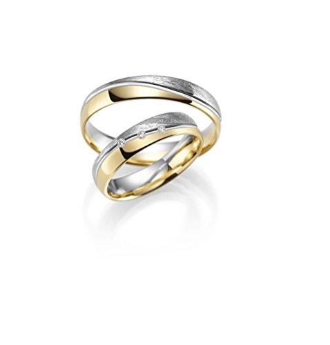 Alianzas de oro 333, precio conjunto de oro amarillo y blanco – Rubin Juweler - incluye grabado y 3 circonitas.