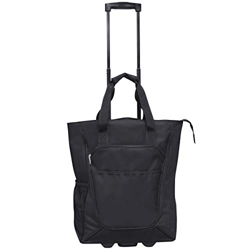 On the Go Rolling Shopping Tote w/ Wheels- Black
