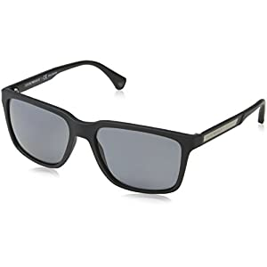 Armani sunglasses for men and women Emporio Armani EA4047 506381 Black Rubber/Grey Polarized Sunglasses