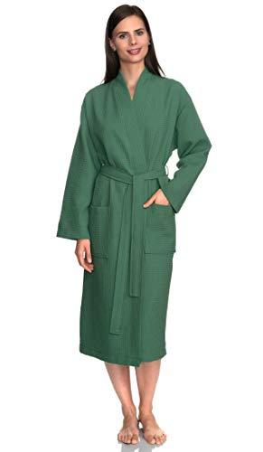 towelselections Mujer de albornoz, albornoz de Kimono de Spa de lino, hecho en Turquía - Verde -