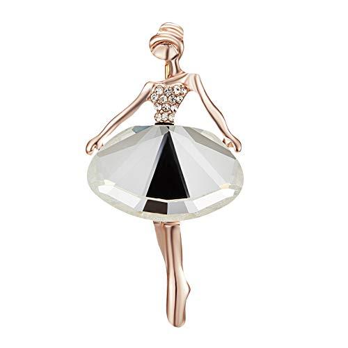 Julhold Broschen Damen Strasssteine Ballett Tanzen Mädchen Brosche Elegante Tanzrock Pin Damen Anti-lighting Corsage Brosche Clips Kopftuch Diamant Abzeichen Kostümzubehör(D)