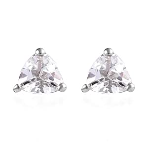 Women 925 Sterling Silver Platinum Plated Trillion Goshenite Stud Solitaire Earrings Gift Costume Jewelry Ct 0.6