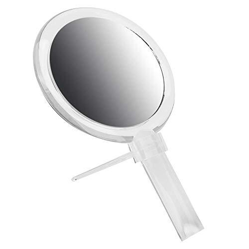 Miroir grossissant Miroir de maquillage avec grossissement, miroir de maquillage, pliable pour le voyage de table de salle de bain à domicile(Transparent)