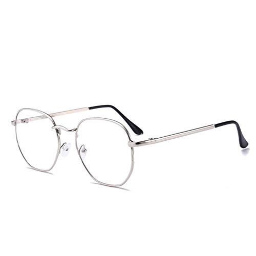 HaiShan HSYJ Polygonal Metall Lesen Presbyopie Brille Herrenmode Lese Brillen Trending Art Presbyipia Brillen + 1.0 ~ + 4.0-7.8.5 (Color : Silver, Size : +400)