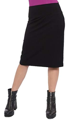 Kosher Casual Women's Modest Knee Length Stretch Pencil Skirt in Lightweight Cotton Lycra Medium Black