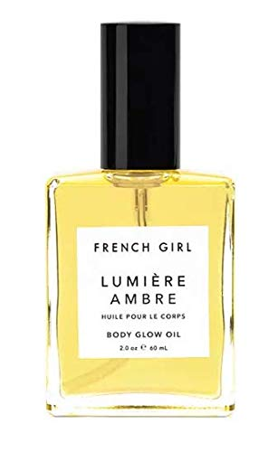 French Girl Lumière Ambre - Mezcla de aceite de ámbar vegano con brillo corporal de camelia orgánica, jojoba y aceite de argán hidratante para piel seca, suavizante y nutritivo multiusos para cuerpo, cara, cabello, 60 ml