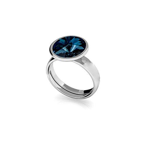 Crystals & Stones Ring *RIVOLI* 925 Silber *Farbe Varianten* Ring mit Swarovski Elements - 925 Sterling Silber Damen Ring Größe Verstellbar! Perfekte Geschenk! PIN/75 (Montana)