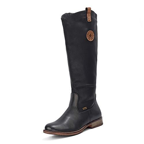 Rieker 97752 Damen Winterstiefel,Winter-Boots,Fellboots,Fellstiefel,gefüttert,warm,Reißverschluss,schwarz,37 EU