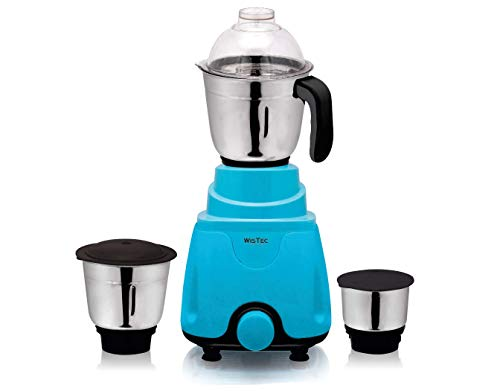 Wistec 750 Watt Mixer Grinder Juicer with 100% Pure Copper motor and 3 Stainless Steel Jar(Blue and Black)-Made in India (Blue)