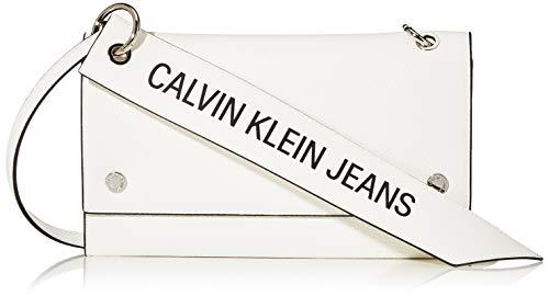 Calvin Klein Women's Ckj Banner Shoulder Flap Bag Cross-Body Bag White (Bright White), 0.1x0.1x0.1 cm (W x H x L)