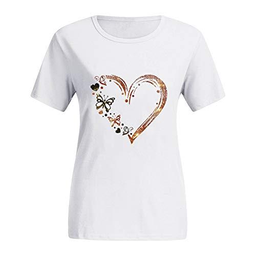YANFANG Camisetas para Mujer,con Estampado de corazón,con Cuello Redondo,Tallas Grandes para Mujer, Camisetas con gráfico de Manga Corta con Estampado de Gato