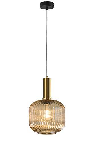 DekoArte Vint - Lámparas de Techo Colgantes Decorativa ModernaE-27 | Metal color Dorado, Cristal Ambar Estilo Vintage | Ideal para Dormitorios, Salones, Restaurantes | Clase Eficiencia Energética A+