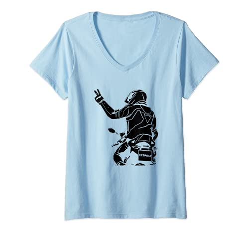 Mujer Respeto Motos Matrícula Placa - Moto Motero Camiseta Cuello V