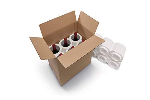 ratioform 4 Unità - Confezione in Polistirolo + Scatola di Cartone per 6 bottiglie, Ideale per Spedizioni e Trasporto. Dimensioni Scatola Esterna 350 x 245 x 380 mm