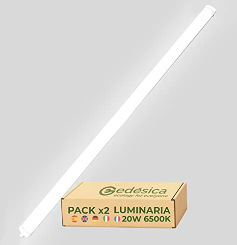 PACK X2, Lampara Led, Lamparas de techo, Tubo Led, Pantalla Led, Luminaria Led, SLIM de Superficie 20W 60CM 6500K Luz Blanca Fría 2400LM, Ideal y Elegante para Oficinas, Pasillos, Garajes, Terraza