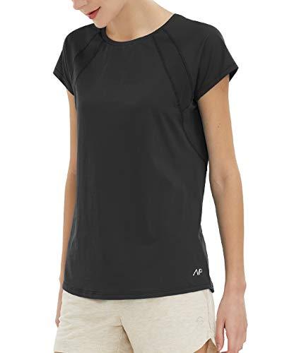 Yoga Tops para mujer Slim Fit Deportes Camisetas Manga Corta Running Gym Active Wear - Negro - Large