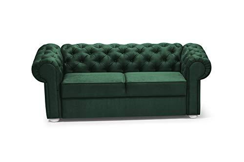2-Sitzer 2er Chesterfield Couch für Wohnzimmer Sofagarnitur Couchgarnitur Büro Wohnlandschaft Federkern Vintage Design Avia (Dunkelgrün)