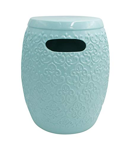 "Amazon Brand – Ravenna Home Damask-Pattern Ceramic Garden Stool or Side Table, 16""H, Light Blue"