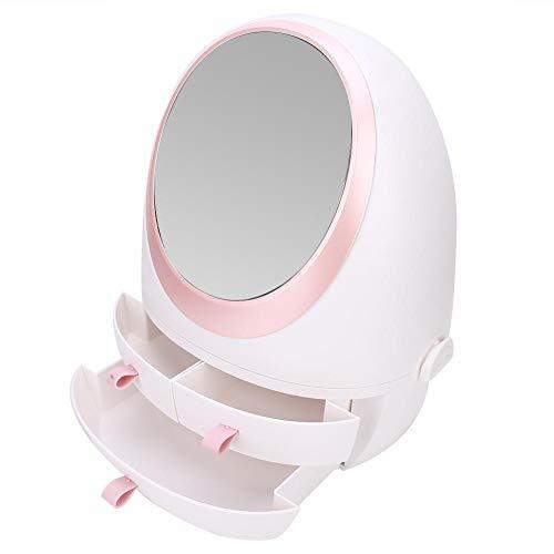 Boîte de rangement pour cosmétiques de bureau, organisateur de cosmétiques avec tiroir de type miroir, porte-pinceau de maquillage anti-poussière, organisateur de produits de soin de la peau