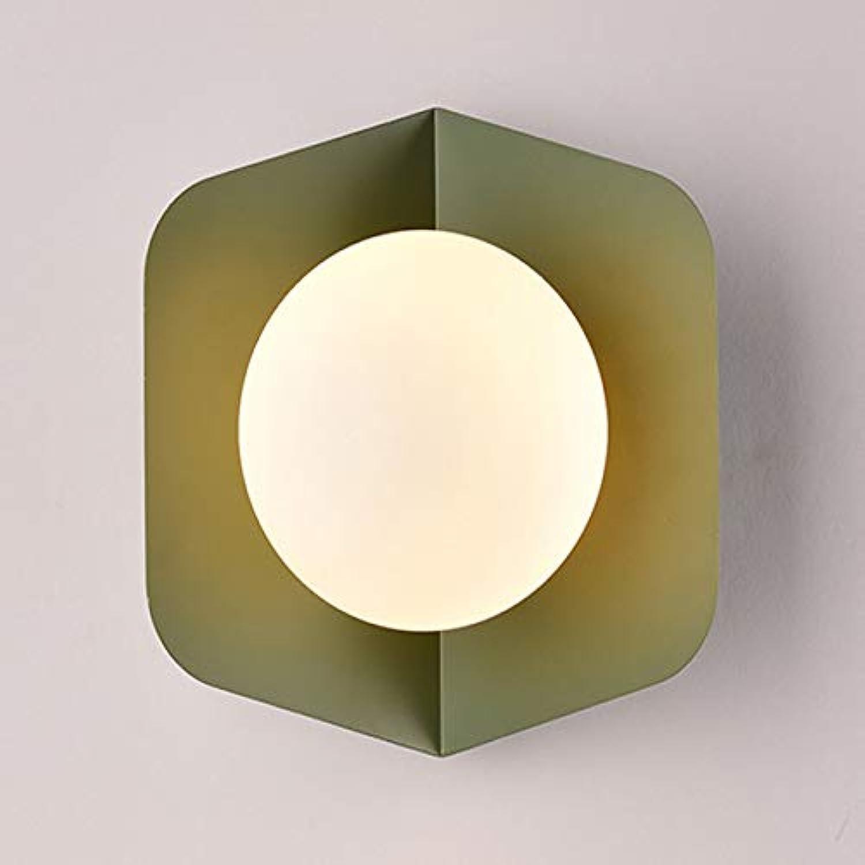 ZHAOHUIFANG Wandlampe, Nordic Minimalistisch Schlafzimmer Nachtwandlampe Augenschutz Energiesparlampe,Grün