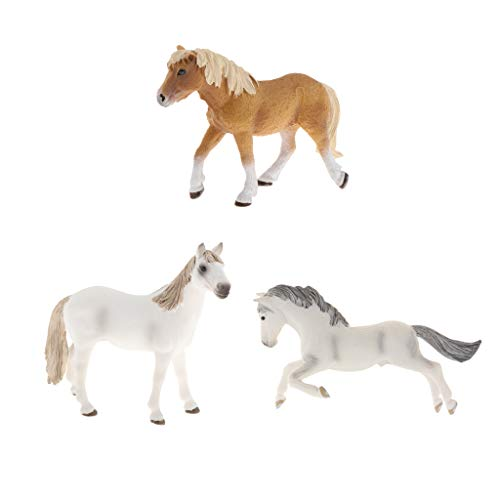 #N/A 3Pcs Handgemalte Pferd Tiermodell Figur Lern Requisiten Home Decor