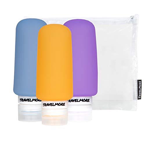 Reisflesjes Set - Navulbare Silicone Reisflessen voor Handbagage & Reizen - Anti-lek Opening - 100ml per Reisfles - 3 Flacons incl. Etui