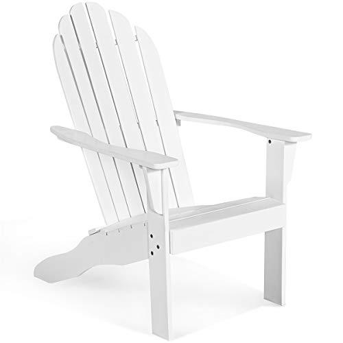 DREAMADE Adirondack Gartenstuhl aus Massivholz, Deckstuhl Relaxstuhl mit breiter Armlehne & hoher Rückenlehne, Gartenmöbel Gartensessel Belastbarkeit von 160 kg (Weiß)