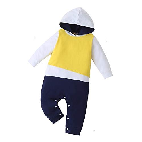 Beudylihy Mono de bebé con capucha con diseño de punto de color para niñas y niños, para recién nacidos y niños pequeños, diferentes tamaños amarillo 3-6 Meses