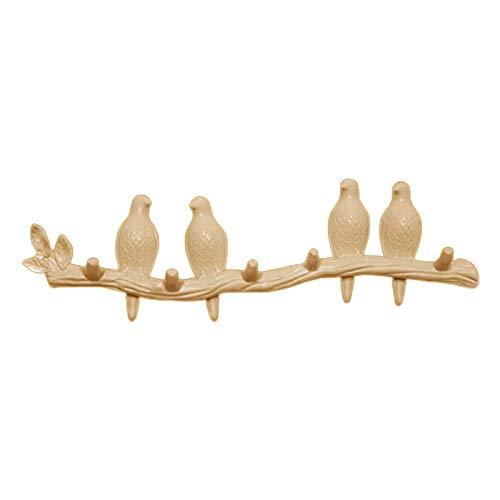 #N/a Gancho de pared colgador de abrigo, pájaros en la rama de árbol colgador de abrigo montado en la pared, decoraciones de pared accesorios para el hogar - Perla 4 pájaro